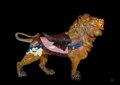 Wooden Platform Mixed Media - Carousel Lion Glen Echo Park by Charles Shoup