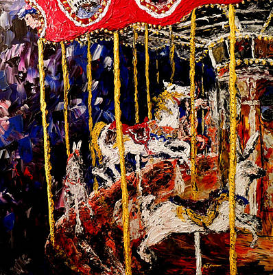 Wet Painting - Carousel  Main Attraction  by Mark Moore