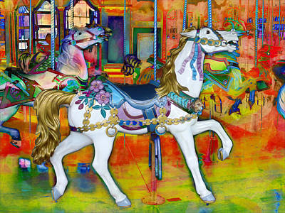 Photograph - Carousel Ponies by Carlos Diaz