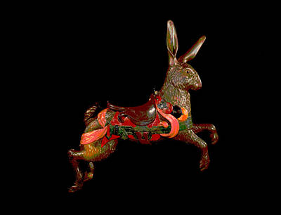 Wooden Platform Mixed Media - Carousel Rabbit  by Charles Shoup