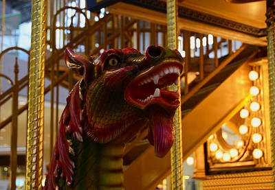 Art Print featuring the photograph Vintage Carousel Red Dragon - 2 by Renee Anderson