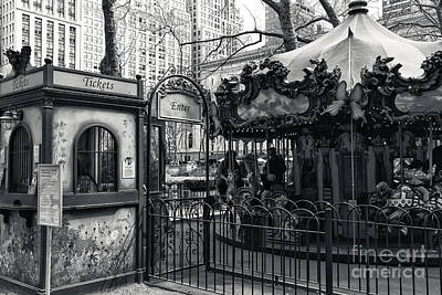 Bryant Photograph - Carousel Tickets Mono by John Rizzuto