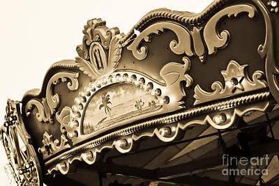 Photograph - Carousel Top In Sepia by Colleen Kammerer