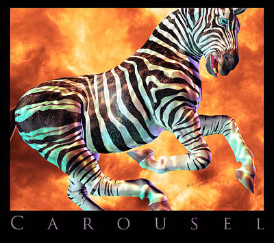 Signed Digital Art - Carousel Zebra by Betsy Knapp