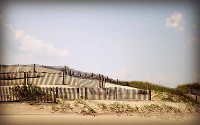Photograph - Carova Dune Fences by Paulette B Wright