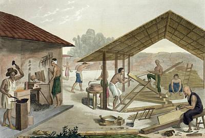 Labourer Drawing - Carpentry Workshop In Kupang, Timor by Francesco Citterio