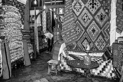 Photograph - Carpet Store In Marrakech by Ellie Perla