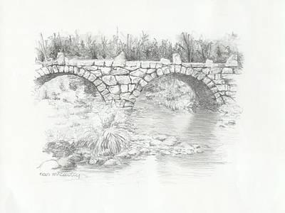 Autumn Landscape Drawing - Carr Bridge by Nan McCarthy