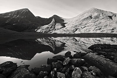 Photograph - Carrauntoohill Calm Morning Reflection In Black And White by Pierre Leclerc Photography