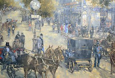 Horse And Carriage Wall Art - Photograph - Carrefour Dronot, Intersection, Paris Oil On Canvas by Peter Miller
