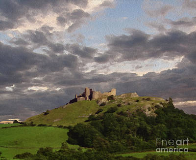 Wales Digital Art - Carreg Cennen Castle North Face by Anthony Forster