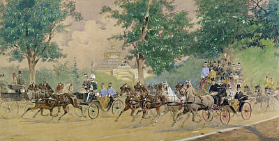 Horse Drawn Carriage Painting - Carriage Driving Near The Rotunda In Vienna by Austrian School