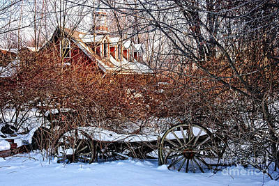 Carriage House In Snow Print by HD Connelly