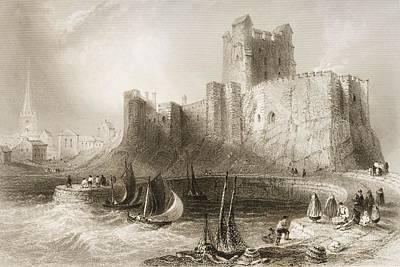 Tower Drawing - Carrickfergus Castle, County Antrim, Northern Ireland, From Scenery And Antiquities Of Ireland by William Henry Bartlett