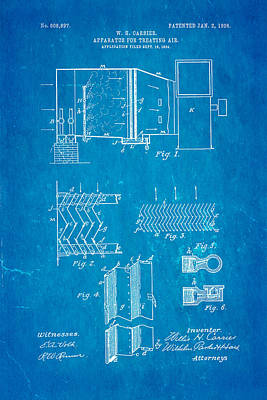 Cool Photograph - Carrier Air Conditioning Patent Art 1906 Blueprint by Ian Monk