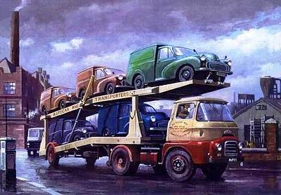 Streetscenes Painting - Carrimore Car Transporter At Longbridge. by Mike  Jeffries