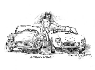 American Cars Drawing - Carroll Shelby And The Cobras by David Lloyd Glover
