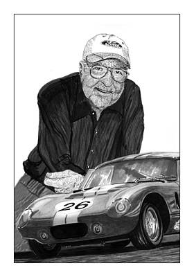 Cobra Drawing - Carroll Shelby    Rest In Peace by Jack Pumphrey