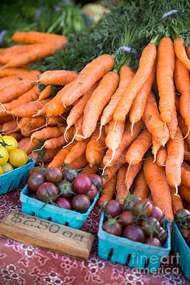 Food And Beverage Royalty-Free and Rights-Managed Images - Carrots and Tomatoes by Rebecca Cozart