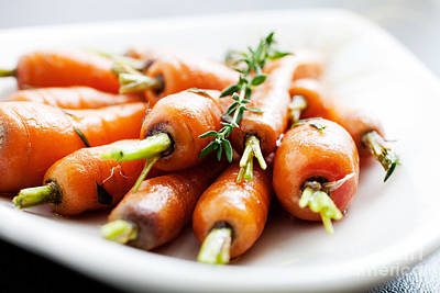 Food And Beverage Royalty-Free and Rights-Managed Images - Carrots by Kati Finell