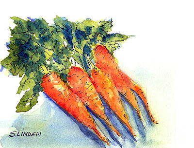 Art Print featuring the painting Carrots by Sandy Linden