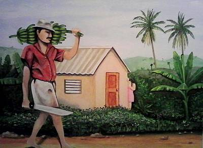 Puerto Rico Painting - Carrying Plantain by Ramon Lopez Collazo
