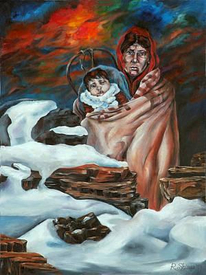 Navajo Children Painting - Carrying Strength by Rebecca Shinas-Rehberg