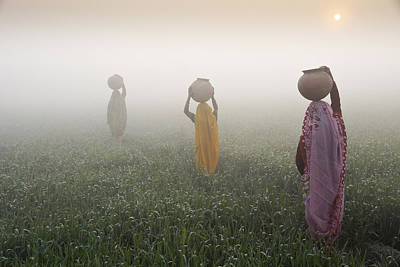 Photograph - Carrying Water On A Foggy Morn In India by Michele Burgess