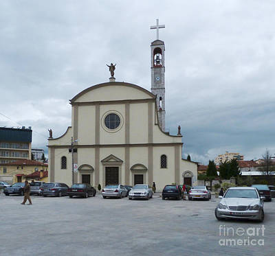 Photograph - Cars And Cathedral - Shkoder by Phil Banks
