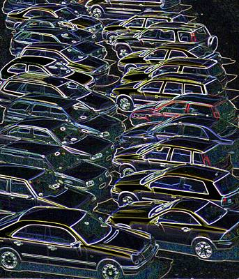 Cars In A Car Park Art Print by Sheila Terry/science Photo Library