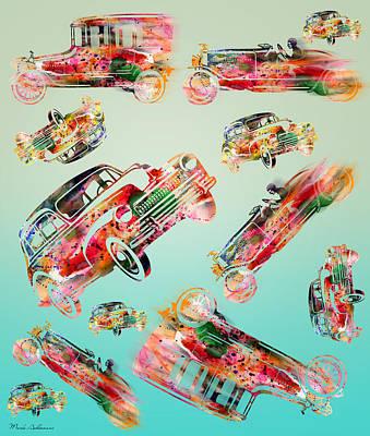 Caricature Digital Art - Cars  by Mark Ashkenazi