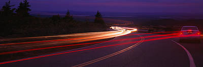 Maine Roads Photograph - Cars Moving On The Road, Mount Desert by Panoramic Images