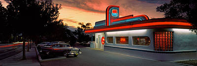 Fast Food Restaurants Photograph - Cars Parked Outside A Restaurant, Route by Panoramic Images