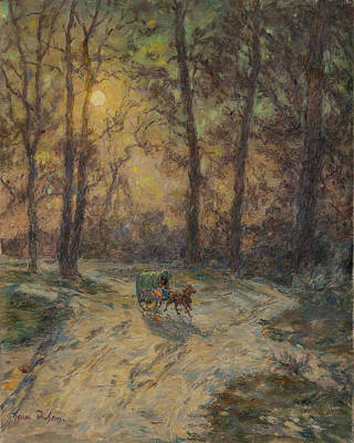 Horse-drawn Painting - Cart In A Wood by Henri Duhem