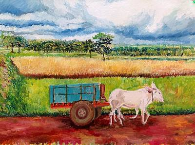 Bullock-cart Painting - Cart Ride by Aditi Bhatt