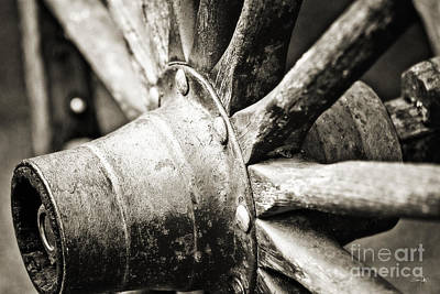 Roman Candy Cart Photograph - Cart Wheel - Sepia by Scott Pellegrin