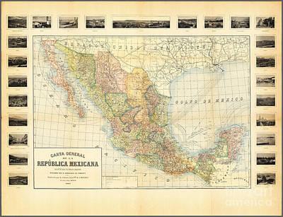 Historic Painting - Carta General De La Republica Mexicana 1900 by Celestial Images