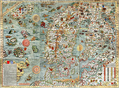 Vintage Map Painting - Carta Marina Map Of Scandinavia By Olaus Magnus - 1539 by Pablo Romero