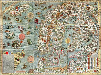 Cartography Painting - Carta Marina Map Of Scandinavia By Olaus Magnus - 1539 by Pablo Romero