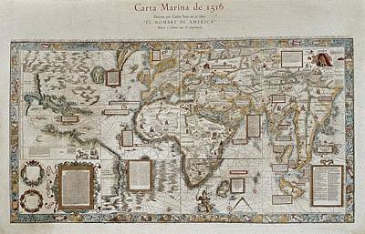 Nautical Chart Photograph - Carta Marina Map Of The Sea. 1516 by Everett
