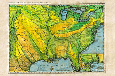 Carte De La Louisianne 1732 French Map Original by Lisa Middleton