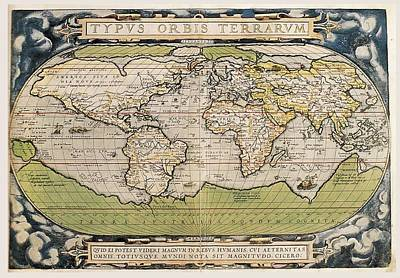 Whaling Drawing - Carte Ortelius World Map 1570 Ad by L Brown