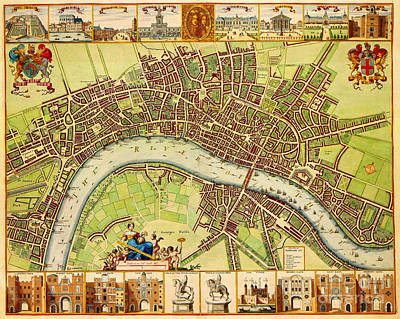 Old Map Painting - Carter 17th Century Map Of London by Celestial Images