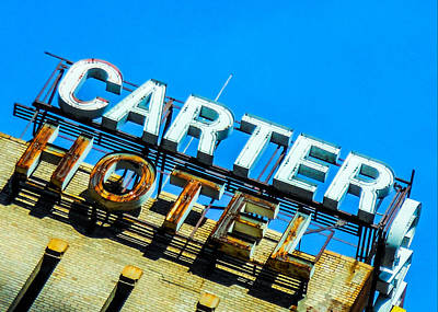 Carter Hotel Sign Art Print by Jon Woodhams