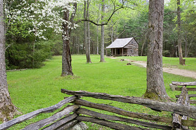 Split Rail Fence Photograph - Carter Shields Cabin In Spring, Cades by Richard and Susan Day