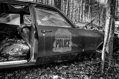 Old Photograph - Cartersville Police Car In Black And White by Greg Mimbs