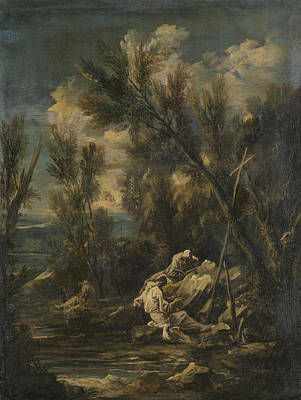 Carthusian Monks In A Landscape, Alessandro Magnasco Print by Litz Collection