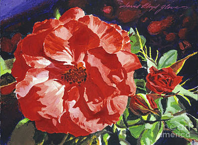 Rosebud Painting - Cartier Rose by David Lloyd Glover