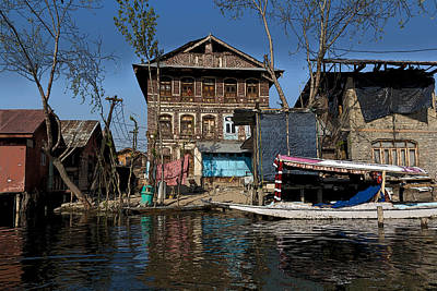 Tree Photograph - Cartoon - A Slightly More Run Down Section Of The Dal Lake With A House And Shikara by Ashish Agarwal