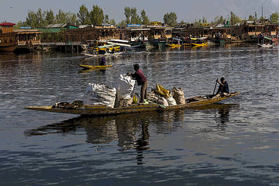 Cartoon - Balancing Large Bags On A Small Boat In The Dal Lake In Srinagar Art Print by Ashish Agarwal